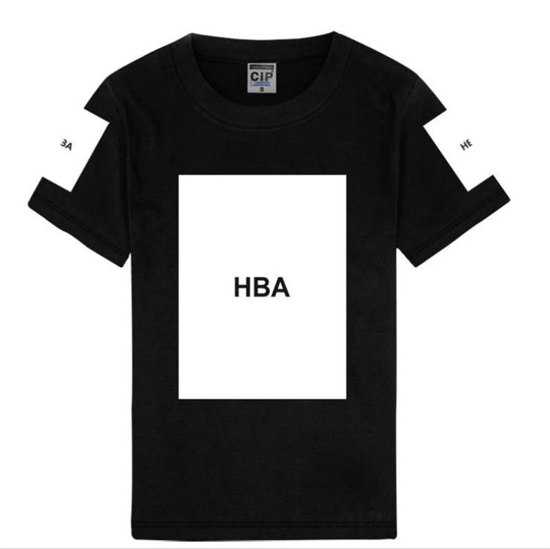 HipHop HBA Square Print Fashion Man Clothes Designer Panelled Streets Mens Tshirt Hemme Casual Breathable Tees