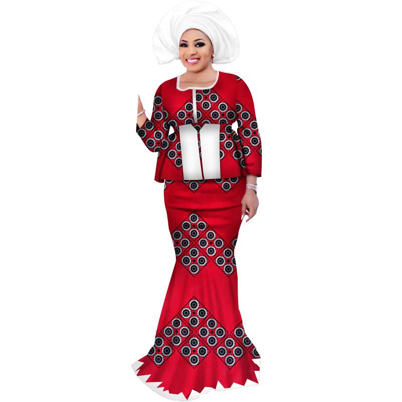 7fb3b3734 Cheap Skirt Sets with Headwrap African Bazin Riche Print Patchwork Top And  Mermaid Skirts for Women African Clothing WY3109