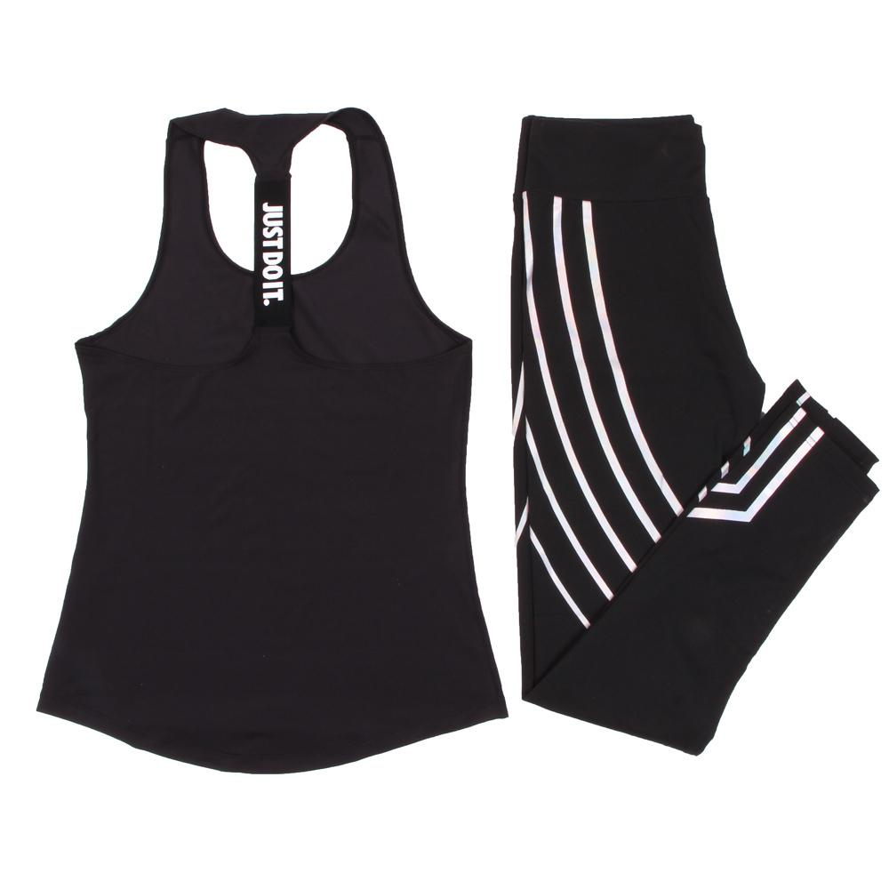 Women Yoga Set Sports Top Vest +reflective Leggings Fitness Clothing Running Tights Jogging Workout Yoga Leggings Sport Suit Y190508