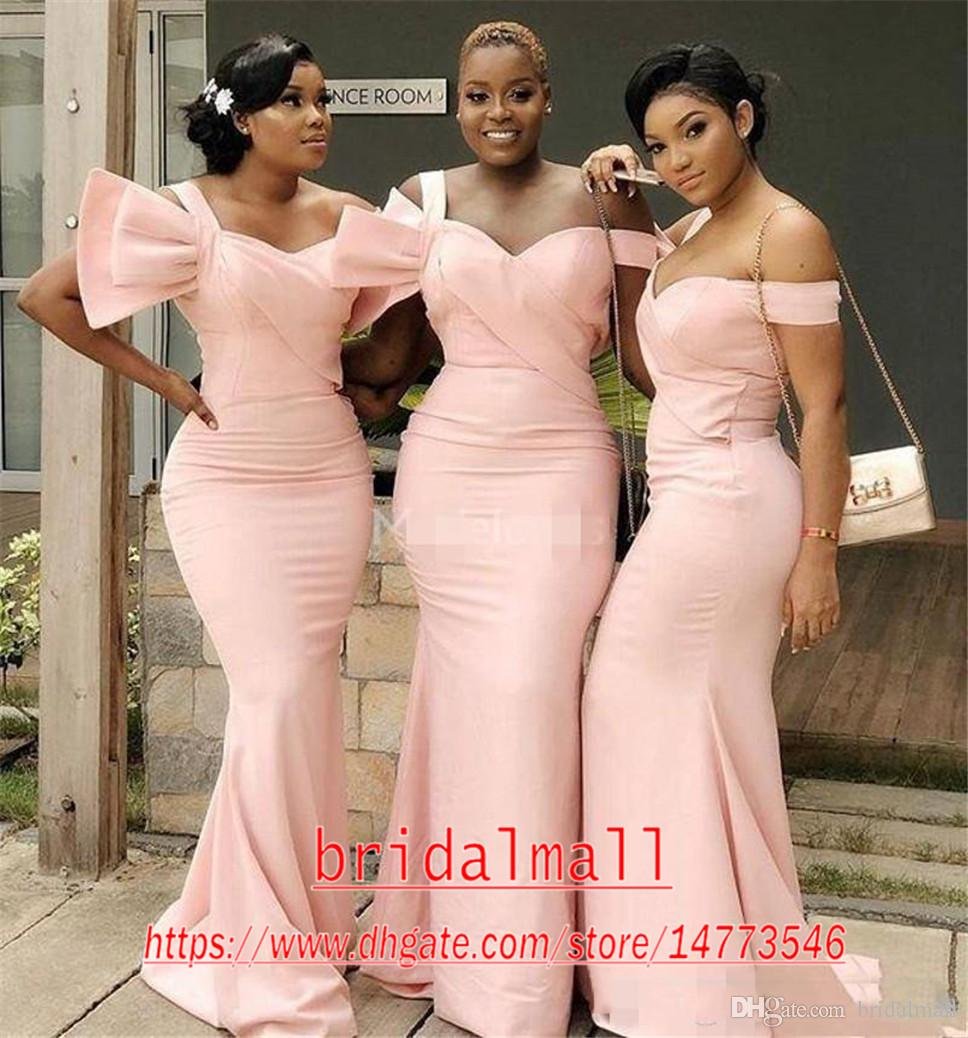 One Shoulder 2020 Pink Satin Long Bridesmaid Dresses Big Bow Modest Mermaid Maid of Honor Gown Sweep Train Country Wedding Party Dresses
