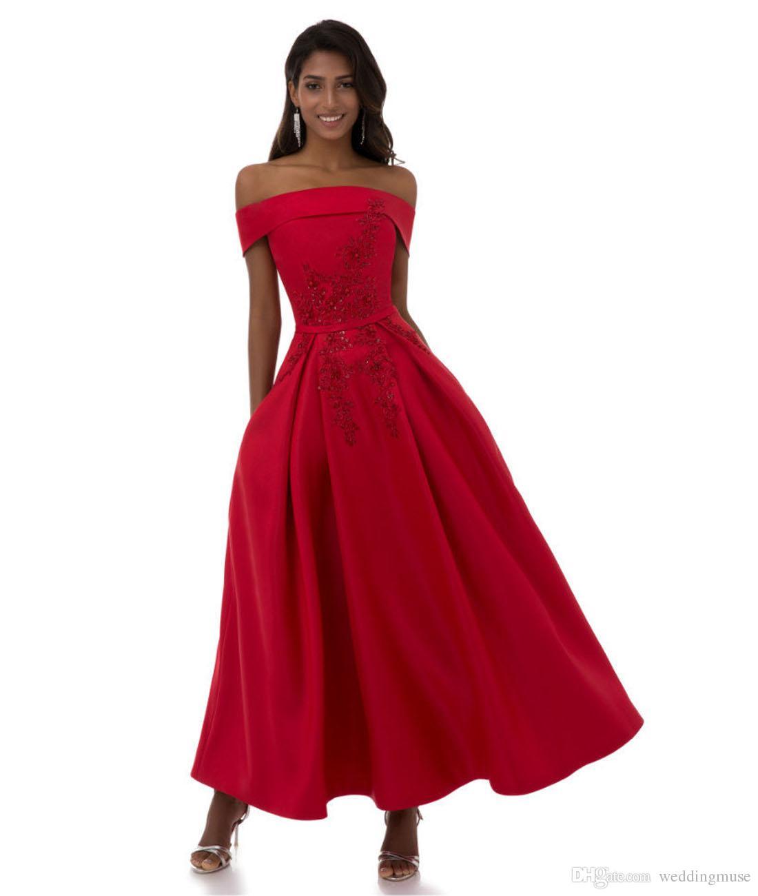 15fb117ed69c Vestidos de noche de color rojo oscuro 2019 Sexy fuera del hombro Una línea  Vestidos de fiesta hasta el tobillo Vestido de fiesta formal Vestidos de ...