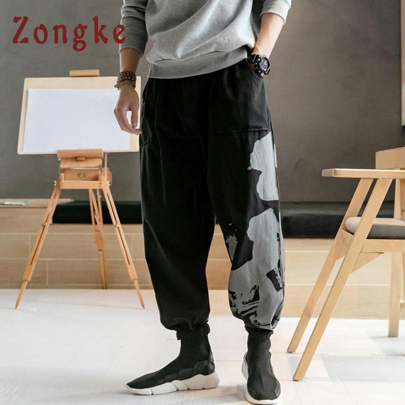 Zongke Chinese Style Cotton Linen Harem Pants Men Trousers Streetwear Sweatpants Hip Hop Pants Mens Trousers Men Pants 2019 New At Any Cost Pants