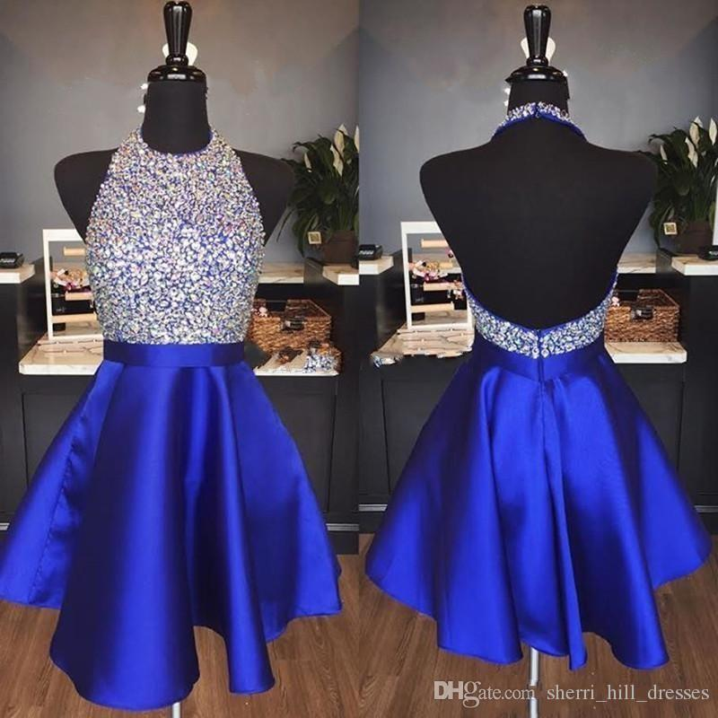 f8158677813 Royal Blue Satin Backless Homecoming Dresses Jewel Halter Sequins Crystal  Backless Short Prom Dresses Sparkly Red Party Dresses Red Formal Dress Sexy  ...