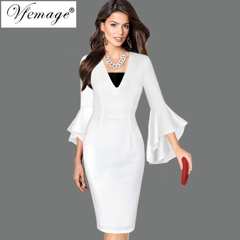 Vfemage Womens Sexy Deep V-neck Flare Bell Long Sleeves Elegant Work Business Casual Party Slim Sheath Bodycon Pencil Dress 7925 Y190427