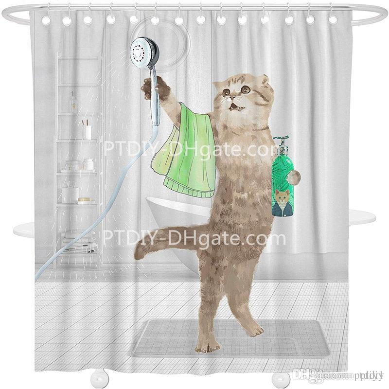 2019 Cat Shower Curtain Animal Fabric Bathroom Decor Set No Chemical Odor Rust Proof Grommets Funny Taking A From Ptdiy1 2136