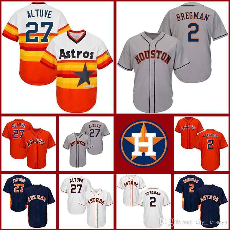 huge discount 54ea8 c1c4b 19 Men's Houston Jerseys Astros 2 Alex Bregman 27 Jose Altuve Grey Blue  Orange White New Cool Stitched Jersey
