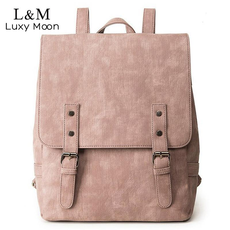 c1ff3c4f71b Women Backpack Large School Bags For Teenage Girls Shoulder Bag Vintage Pu  Leather Backpacks Black Casual Solid Rucksack Xa83h J190425