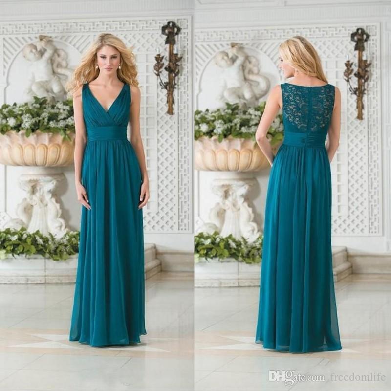Cheap Vintage Long Bridesmaid Dresses Chiffon V Neck Teal Green Lace Hollow  Back Plus Size Wedding Guest Dress