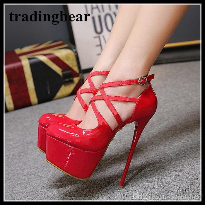 b132fb45d71 Sexy2019 Red Patent PU Leather Cross Strappy Platform High Heel Shoes  Bridal Wedding Shoes Size To