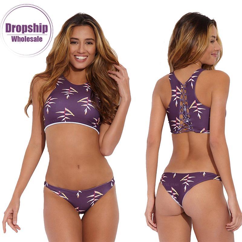345e5024d1 2019 New Purple Flower Bikini Set Women SEXY Micro Bikinis Crop Top ...