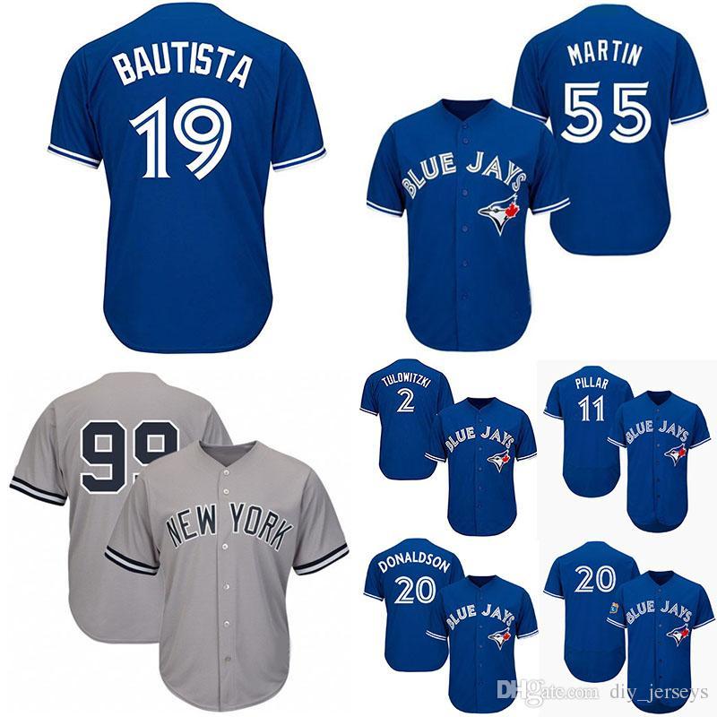 more photos 351a0 d14ad Cheap Mens Baseball Jerseys Yankees 99 Aaron Judge New York Jays Toronto  Blue 20 Josh Donaldson 55 Russel Martin