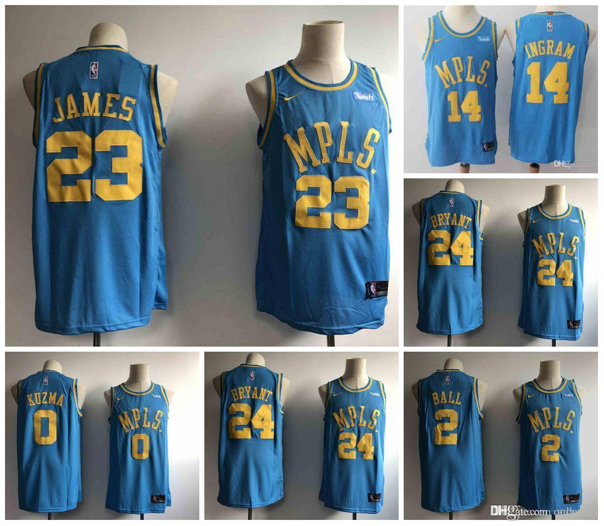 timeless design 0d98d b2018 23 LeBron James Laker Jersey The Citys Los Angeles Kobe 24 Lonzo 2 Ball  Kyle 0 Kuzma Brandon 14 Ingram Blue ball Jersey