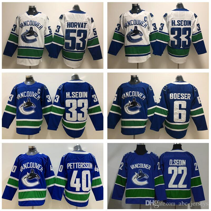 Hockey Vancouver Canucks 40 Elias Pettersson Jersey 53 Bo Horvat 22 Daniel  Sedin 33 Henrik Sedin 6 Brock Boeser Blue White Men Stitched Elias  Pettersson Bo ... 91616984a