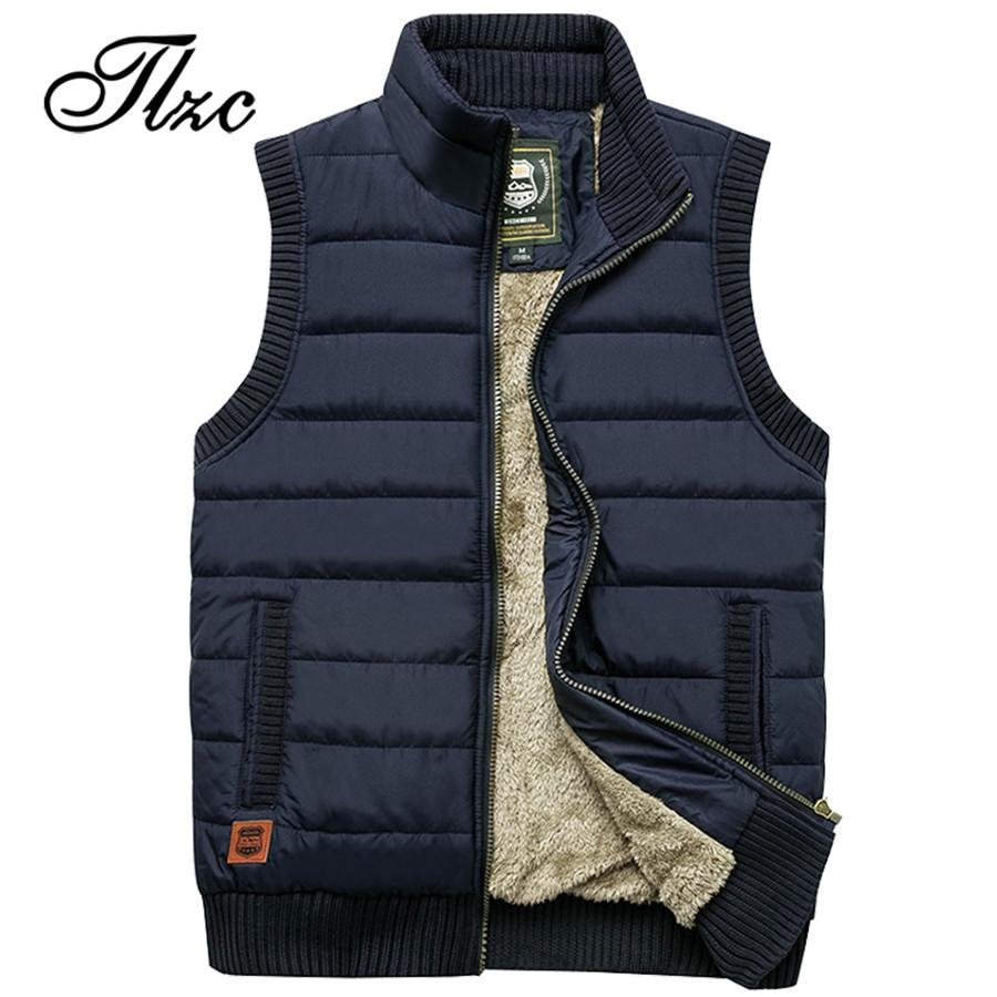 a244f6c101f TLZC Brand 2019 Men Vest Coat Fleece Waistcoat Big Size M-4XL Autumn Winter  Men Warm Coat Sleeveless Casual Jackets Vests   Waistcoats Cheap Vests ...