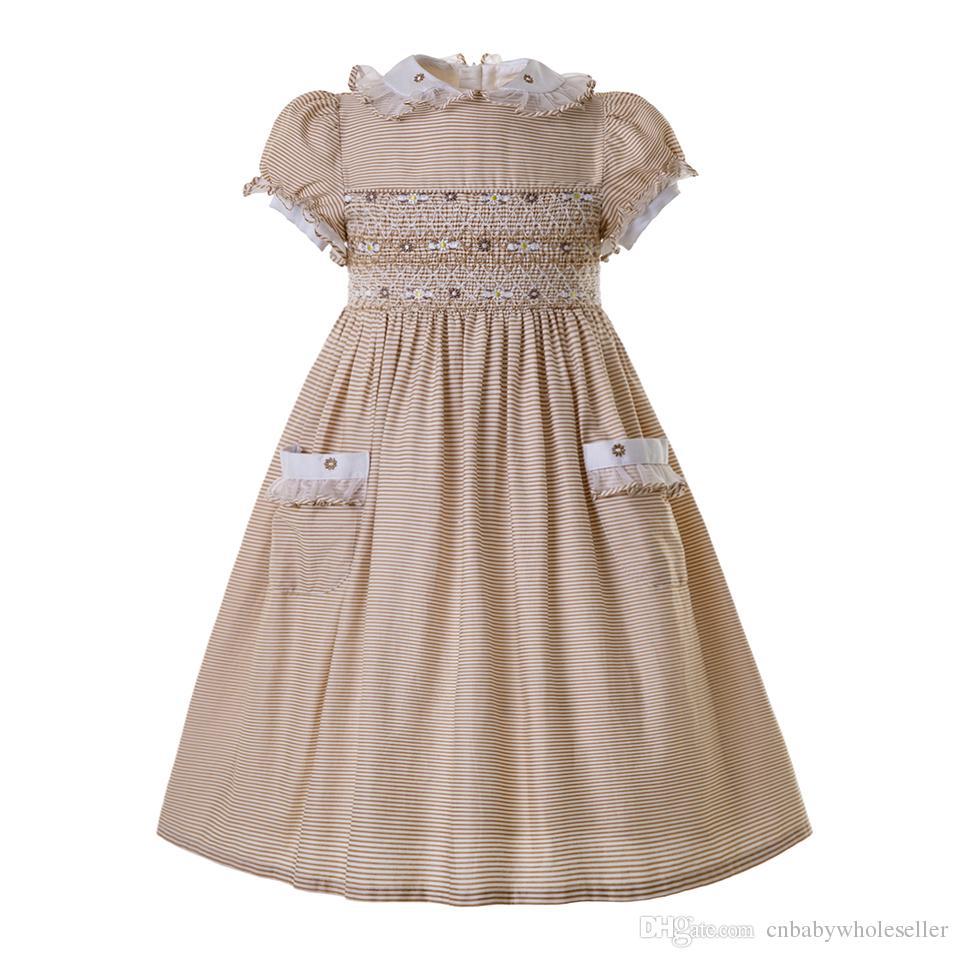 61d1dd05a Pettigirl Doll Collar Short Sleeves Smocked Dresses Summer Smocked ...