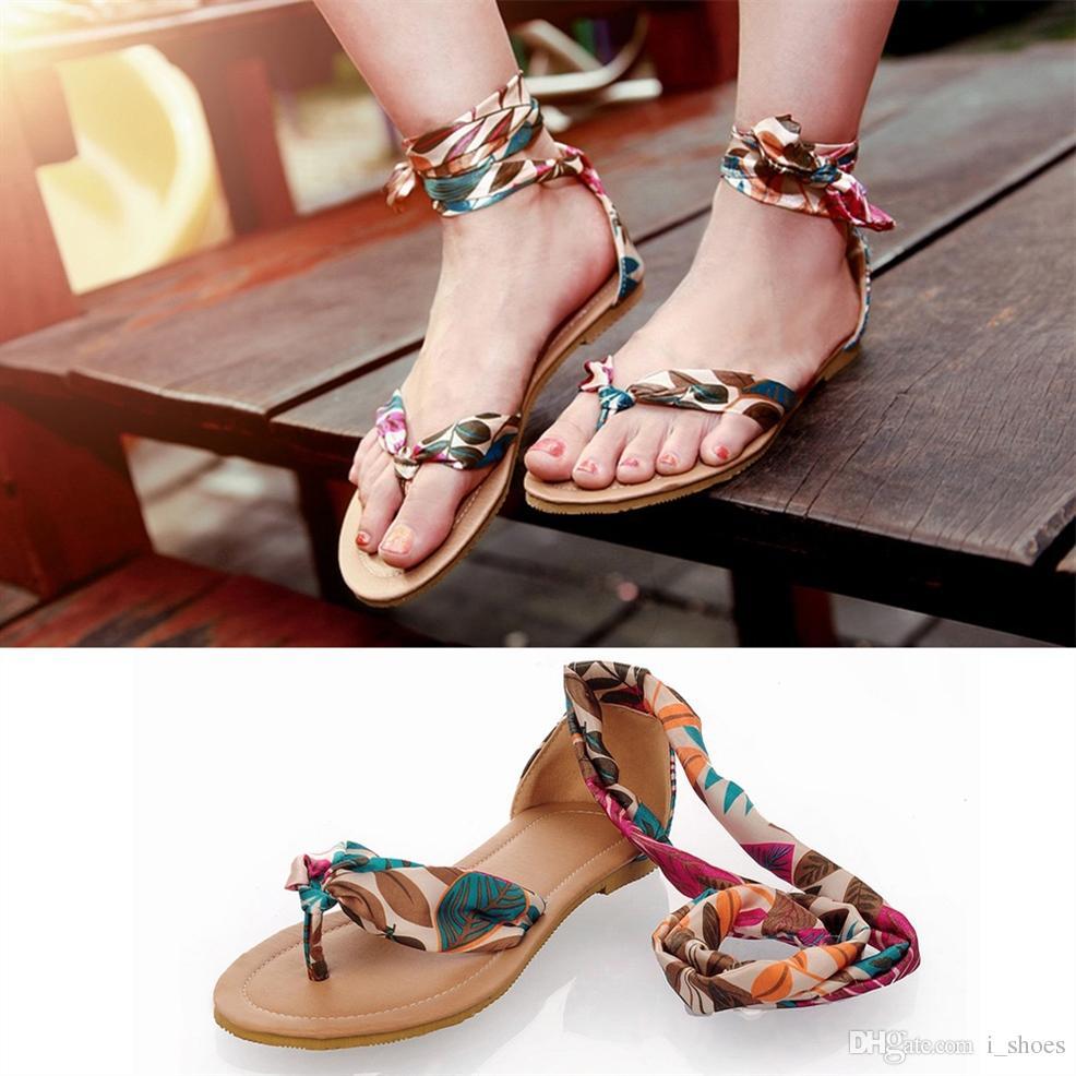 853e99a6c95 2018 Women Sandals Flower Print Air Mesh Ribbon Summer Shoes Woman Flat  Footwear Ankle Strap Bohemia Sandals Big Size 34 43  10330 Shoes For Sale  Womens ...