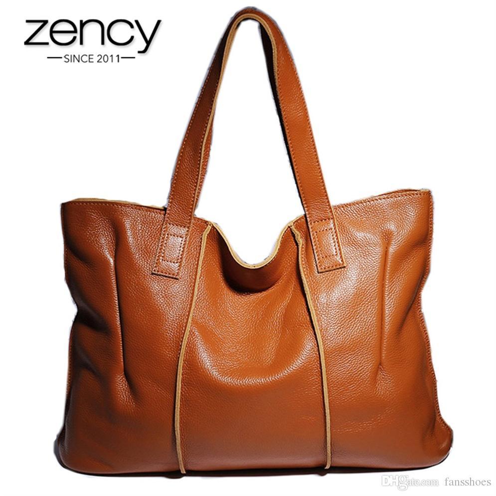 2eeb6569c63a2 Großhandel Zency 100% Echtes Leder Handtasche Große Kapazität Frauen ...