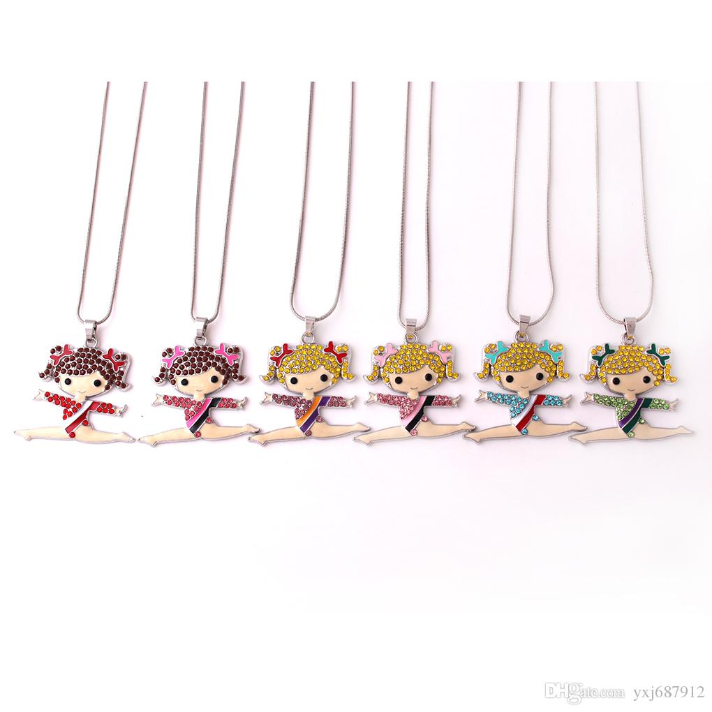 Q11 Gymnastics girl pendant Zinc Alloy Rhodium Plated Mixed Color Crystal Cheerleader Girl Pendant snake chain necklave