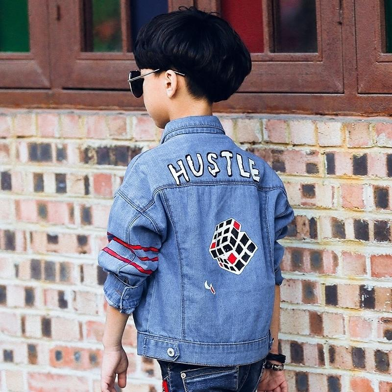 78c161cd601e6 Children S Denim Jacket Spring Models 2019 New Boy Coats Denim Cartoon Print  Outerwear Childs Jacket Lightweight Jackets For Boys From Cynthia11