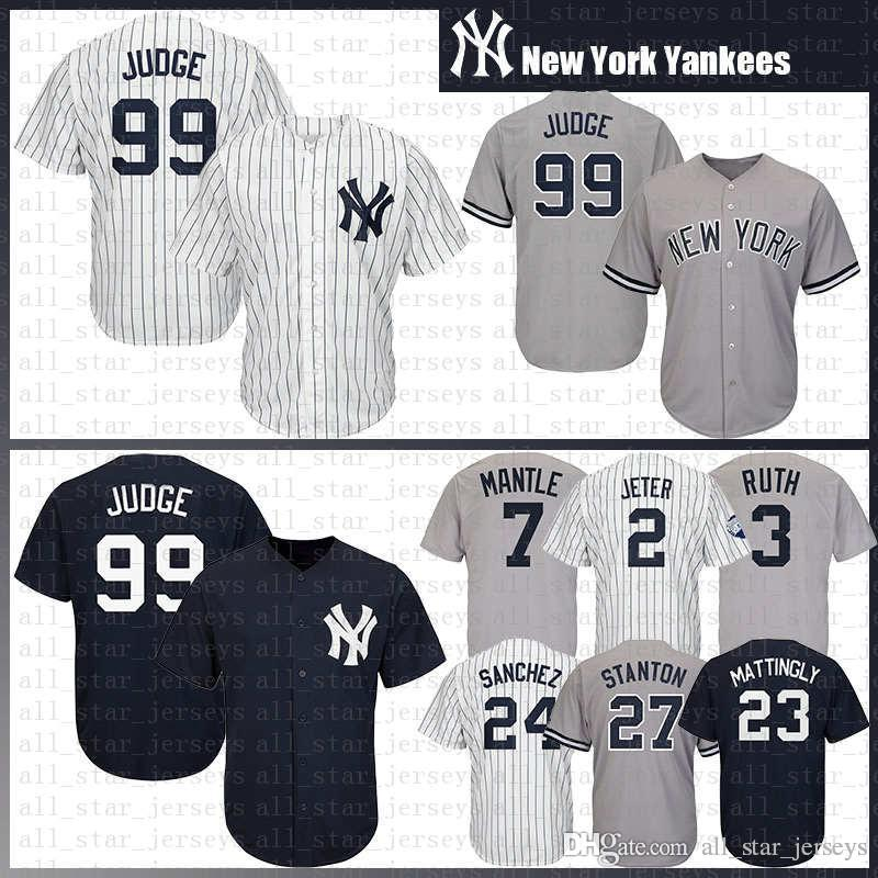 babe2d5ebbe9 Compre Top SALE Yankees 99 Aaron Judge New York Béisbol Jersey 27 Giancarlo  Stanton 25 Gleyber Torres 23 Mattingly Sanchez 3 Babe Ruth 7 Mantle A  $41.57 Del ...