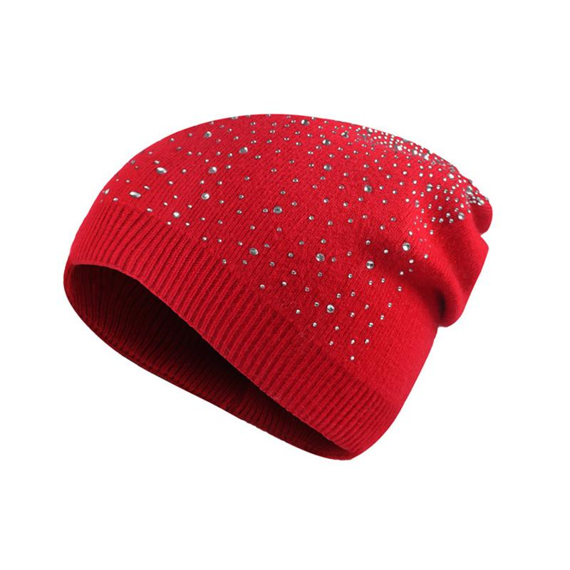3a7d1258743 Fashion Rhinestones Knitted Skull Hats For Women Winter Skullies Beanies Cap  Thick Warm Caps Female Winter Girl For Hat Watch Cap Fitted Caps From ...