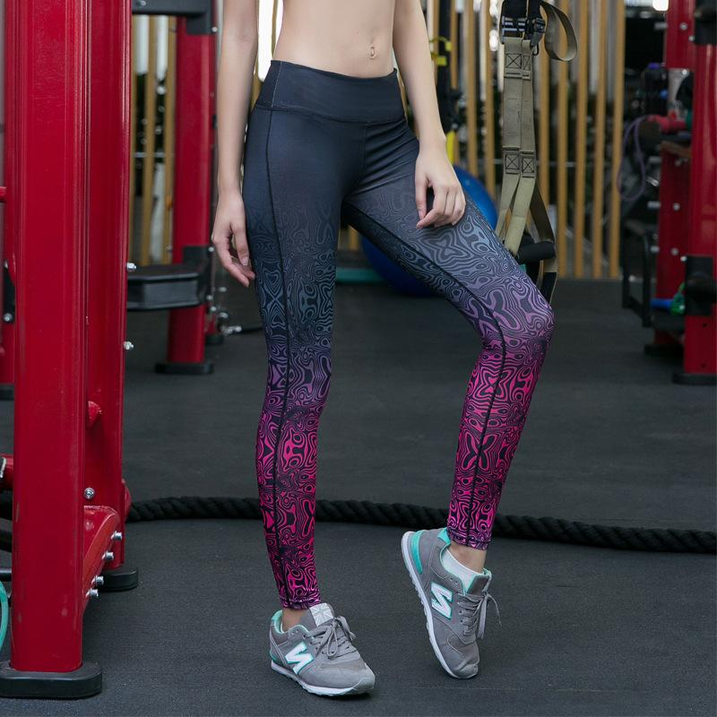 b4608e8c4e 2019 New Women Printed Sport Pants High Waist Yoga Gym Leggings Running  Tights Workout Fitness Compression Girl Pencil Pants Male Outside Wear From  Bestnify ...