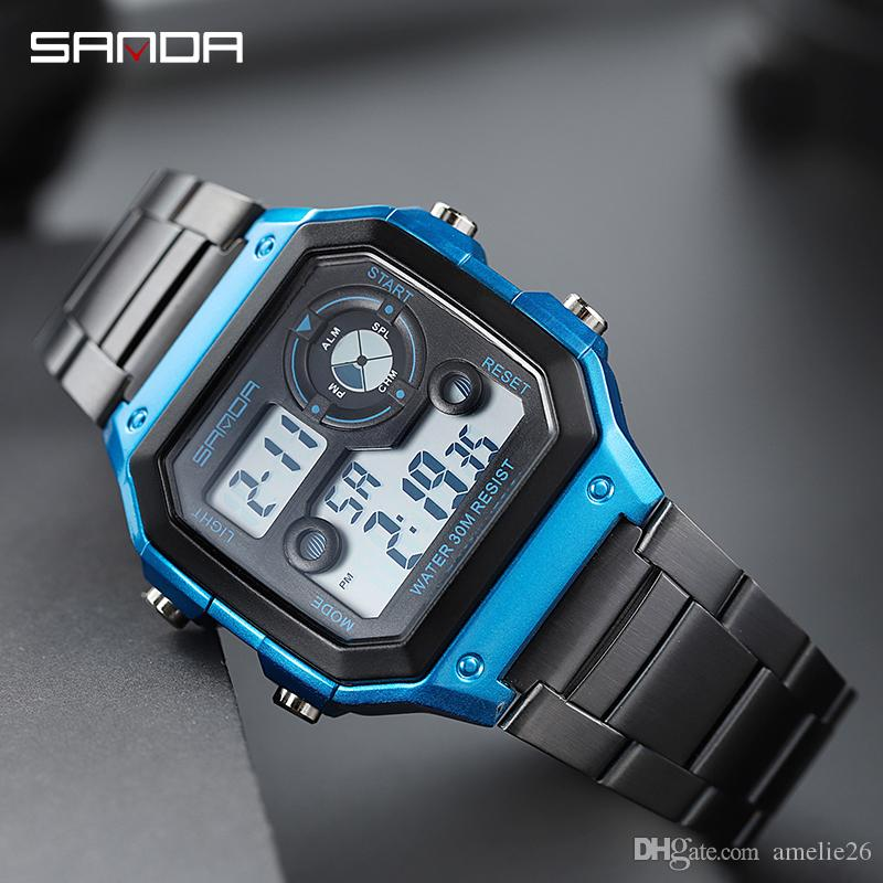 Stainless Steel Sports Men's Watches Gold Digital Watches Men Fashion Waterproof Count Down Clock Relogio Masculino