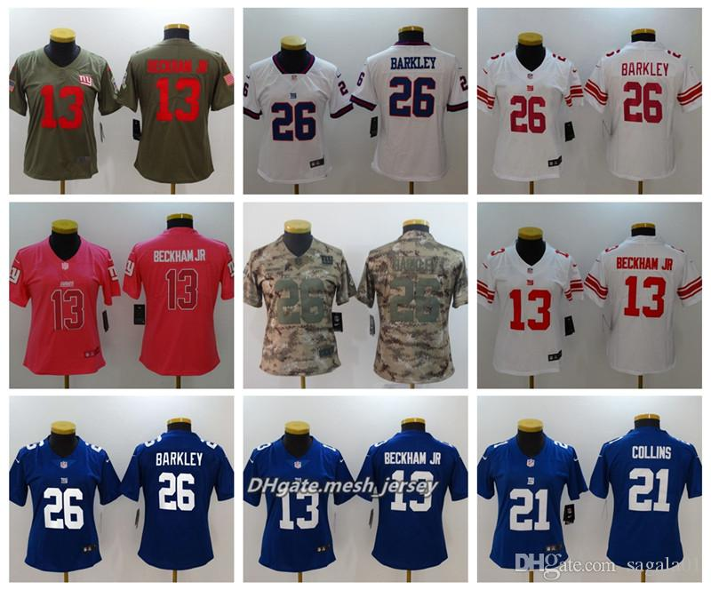 pretty nice a8cd1 d3e79 Women New York Giants American Football Jersey 26 Saquon Barkley 21 Landon  Collins 13 Odell Beckham Jr Color Rush Stitching Jerseys