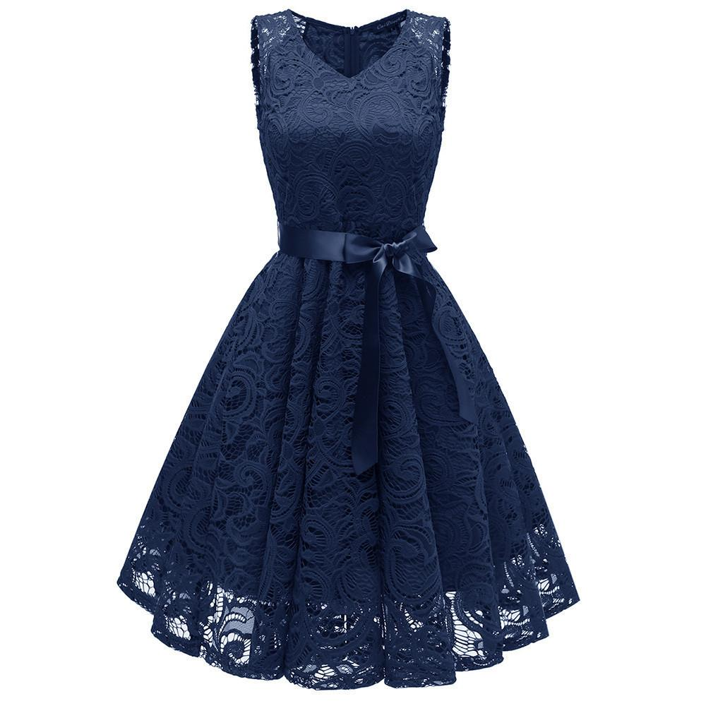 08e0722b3324 Women Vintage Sexy Summer Dress Beach Sundress Princess Floral Lace  Cocktail V Neck Party Aline Swing Dress Vestidos Verano 2019 Y190425  Sundress For Women ...