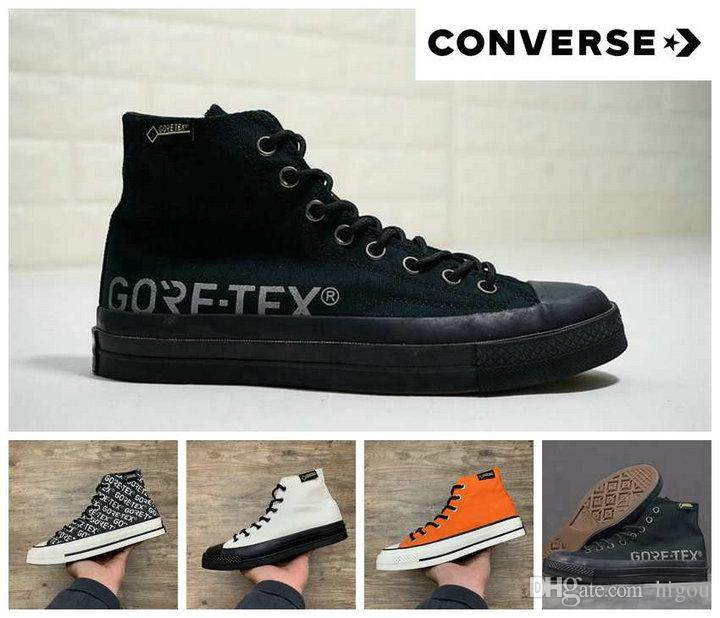 buy online 0f4d2 4fedb 2019 Converse x Gore-Tex Chuck All Star 1970s High Canvas Running  Skateboard Shoes Orange Black Waterproof fabric Casual Sneakers
