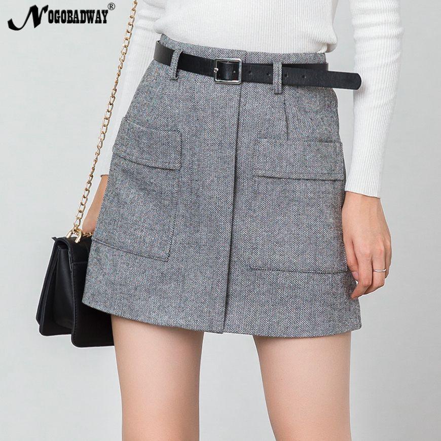 99e5737e8 Cintura alta Invierno cálido Mini faldas para mujer Falda corta bolsillos  Delgado ocasional coreano Tweed de lana gruesa Saia Ladies otoño Bottoms ...