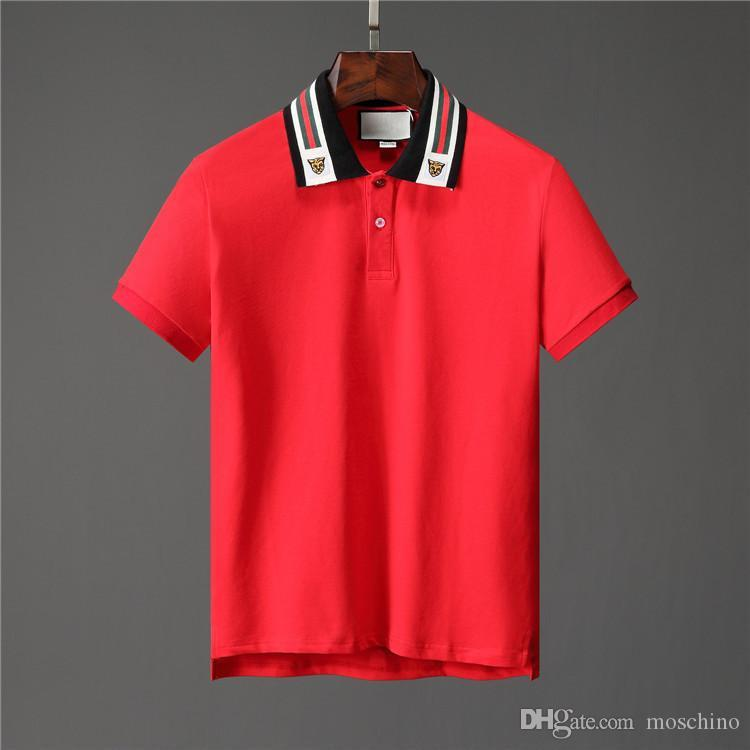 1785f673c Ss19 Italy Cotton Polo with Web And Feline Head Men Tiger Striped ...