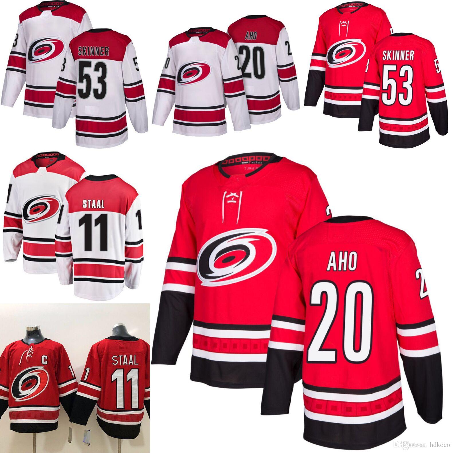 2018-2019 Season Carolina Hurricanes 20 Sebastian Aho 53 Jeff Skinner 11  Staal Hockey Jerseys Men All Stitched Jerseys Hockey Jerseys 20 Sebastian  Aho ... 4d61d0221