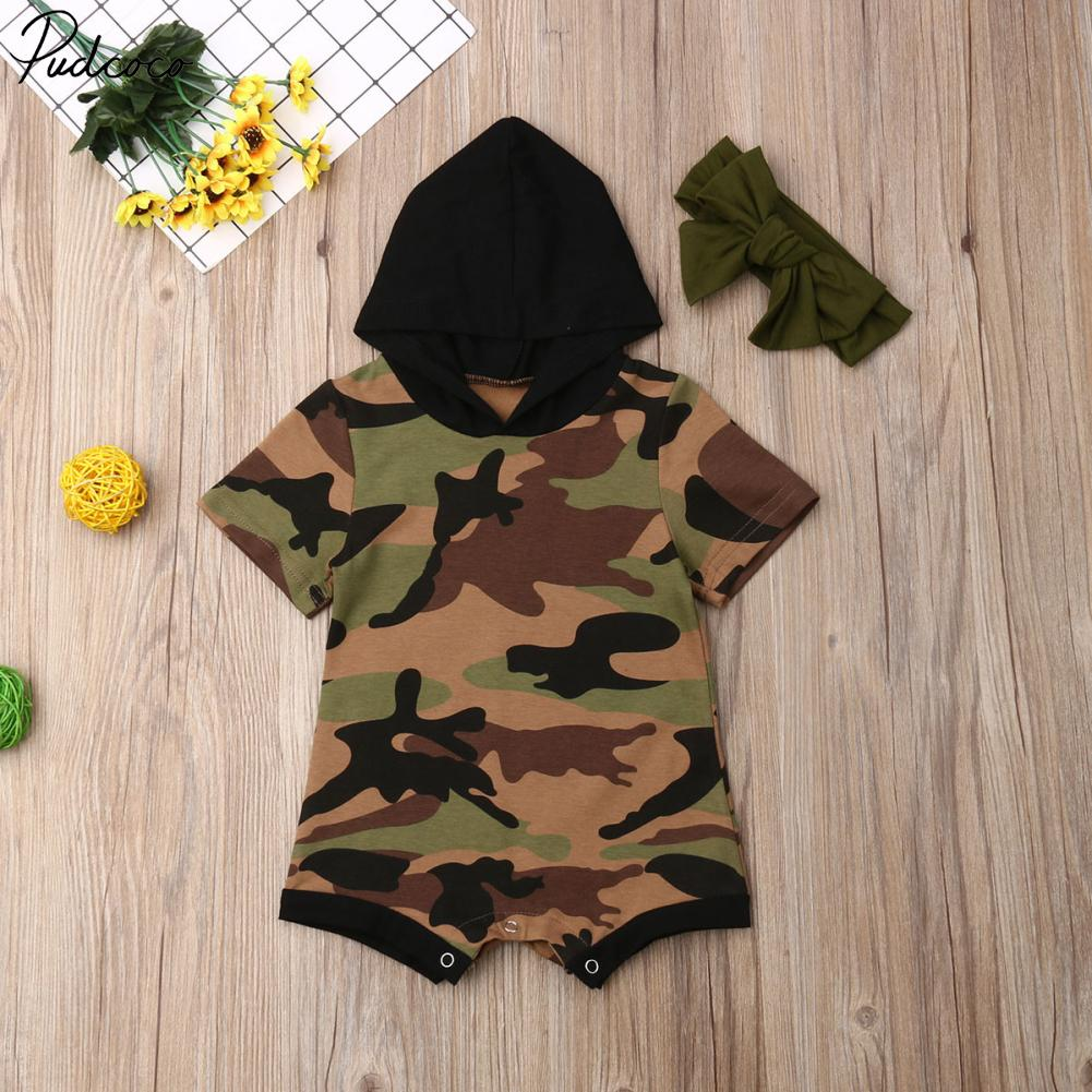Kids Baby Girl Clothes Short Sleeve Camouflage Hooded Romper Overall Outfit Set