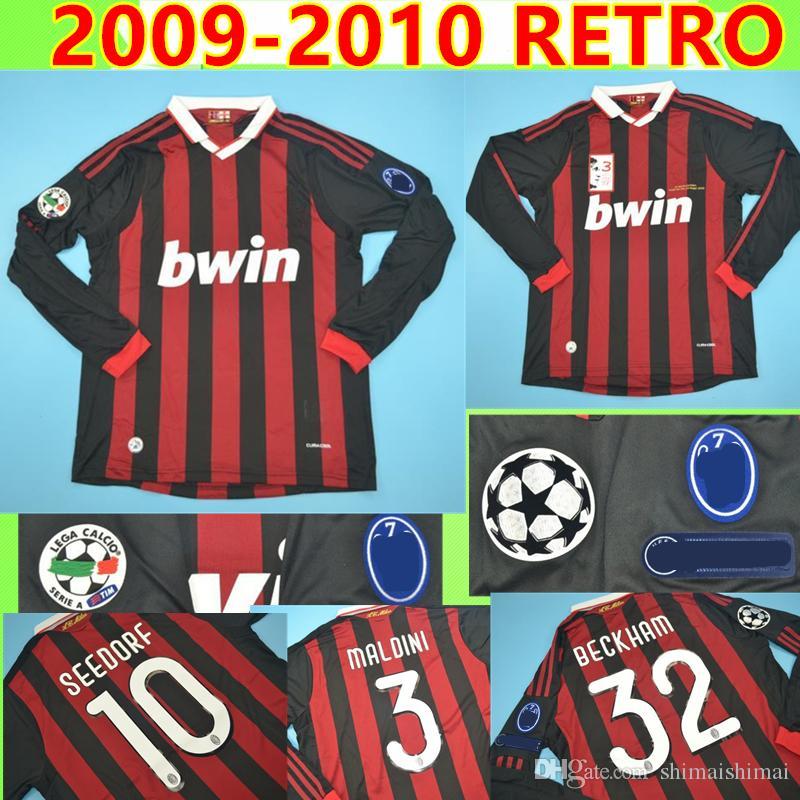 MALDINI SEEDORF BECKHAM T SILVA RONALDINHO Retro Maglia manga larga 2009  2010 AC milan 09 10 camiseta de fútbol clásico Camiseta vintage Maillot