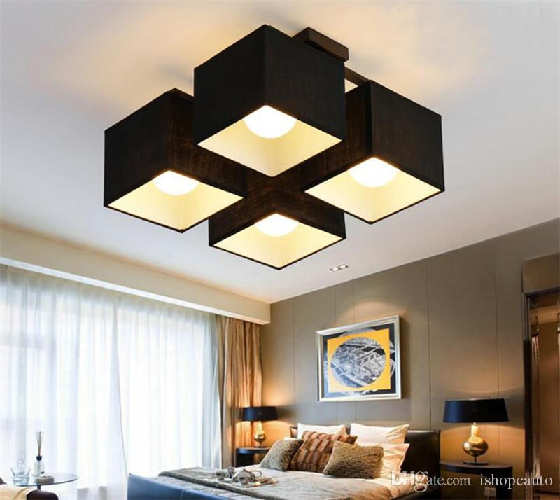 Modern minimalist study hall bedroom ceiling lighting restaurant atmosphere  square Nordic lamps Korean fabric art ceiling lamp -L23