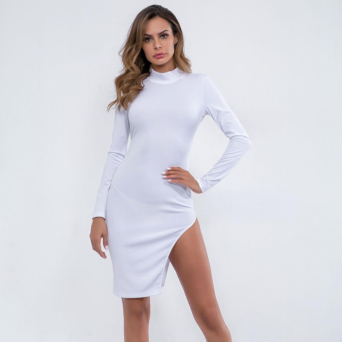 2019 Women Clothing Long Sleeve Stand Collar Split Backless Solid Bodycon Dress  Female Sexy Fashion Slim Mini Asymmetrical Dresses D5459 Women Dress  Bodycon ... c2cc51f4b52c