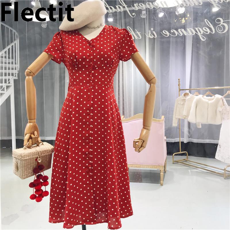 a7439268c 2019 Flectit Vintage 80s Dress French Style Polka Dot Button Up Midi Dress  Short Puff Sleeve High Waisted Retro Holiday Dress Women Q190423 From  Tai03, ...