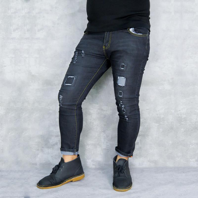 1ebf8389c0 Compre Primavera 2019 Nuevos Jeans Ajustados Para Hombres