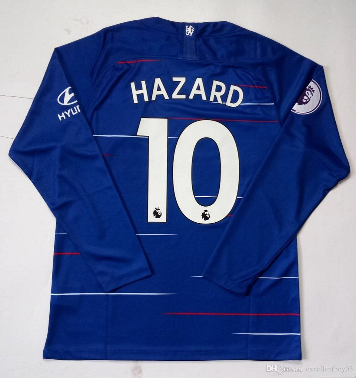 10 HAZARD Soccer Jersey Home Men s Color Blue Long Fan Version 2019 ... 650250cc1