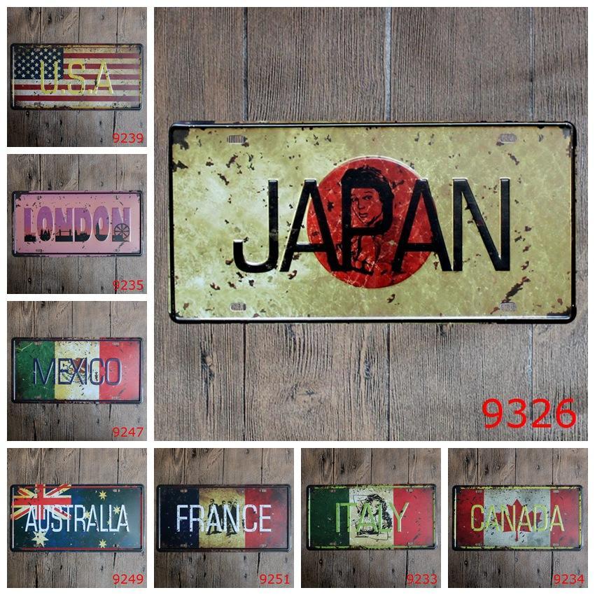 Satın Al 15x30 Cm Vintage Lisans Plakaları Bayrak Afiş Japonya
