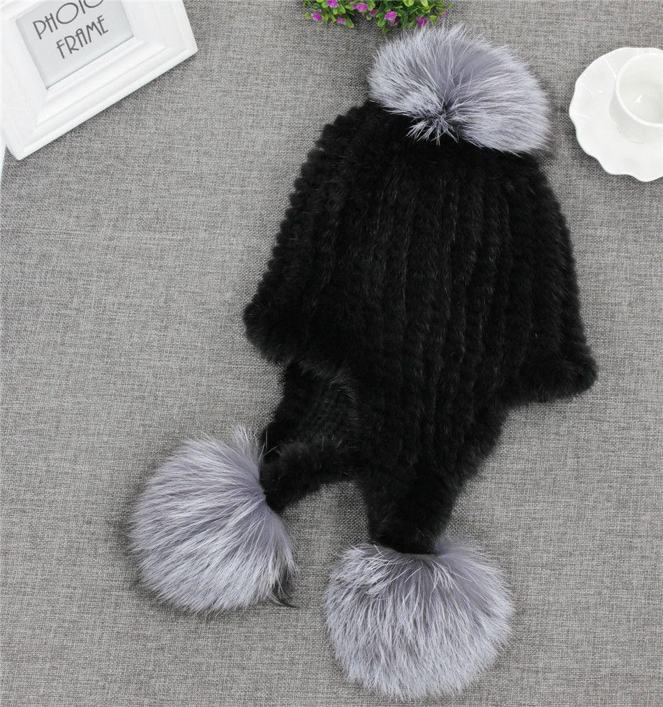 Luxury Women S Winter Real Mink Fur Knitted Fox Fur Pom Pom Hats Earmuff  Caps D19011503 Knitted Hat Cap Hat From Yizhan02 b0cdef5e538