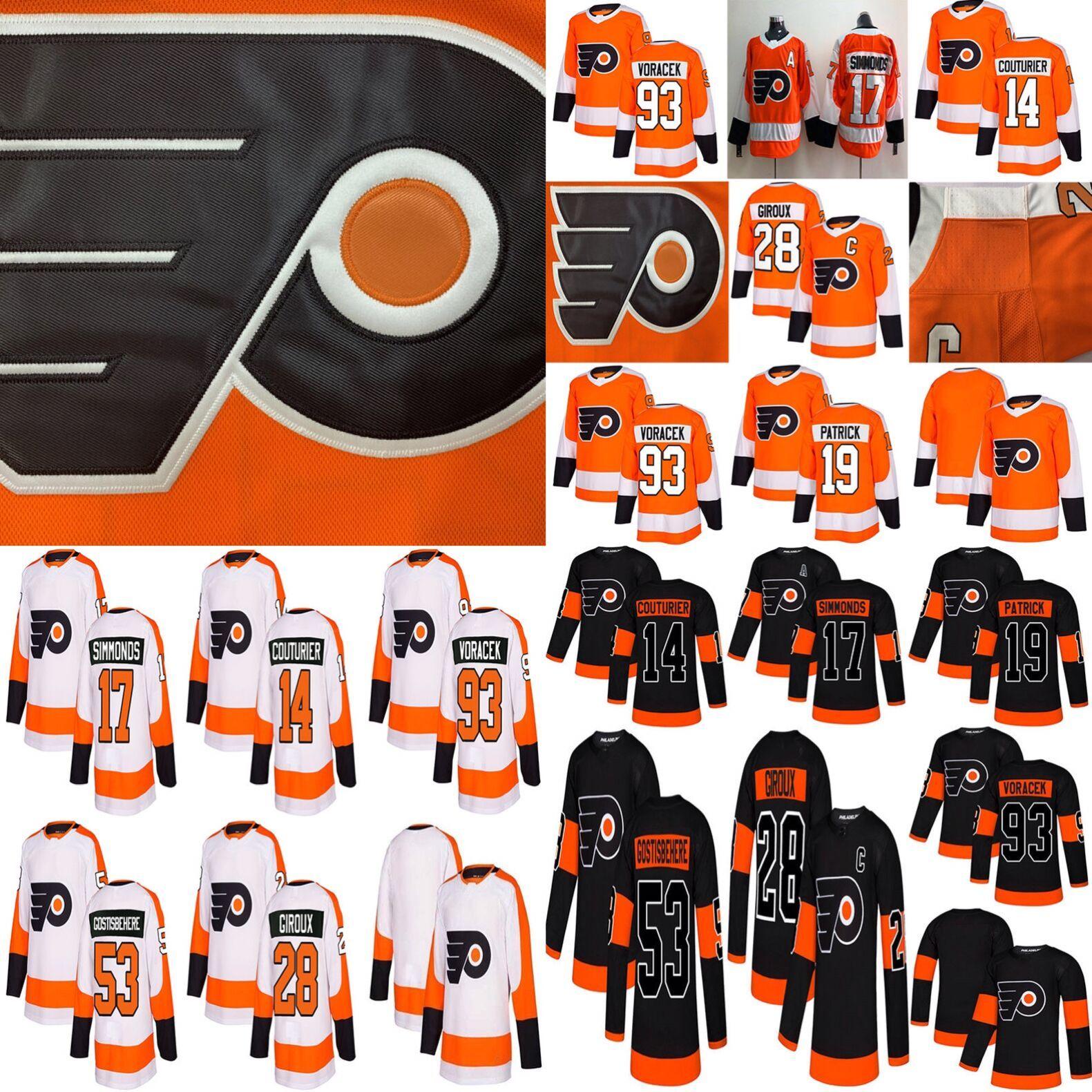 2019 Philadelphia Flyers Hockey 28 Claude Giroux 17 Wayne Simmonds 53  Gostisbehere 93 Voracek 19 Nolan Patrick 14 Sean Couturier Ice Hockey  Hockey Jerseys ... 57d0ec7b9