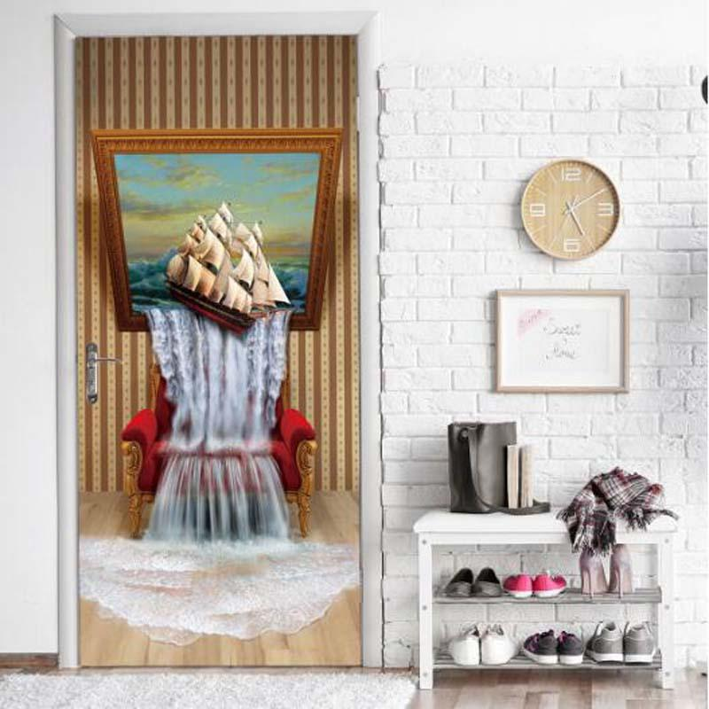 Stereoscopic Painting Door Sticker Home Decor Living Room 3d Mural Waterproof Wallpaper Wall Painting Removable Sticker