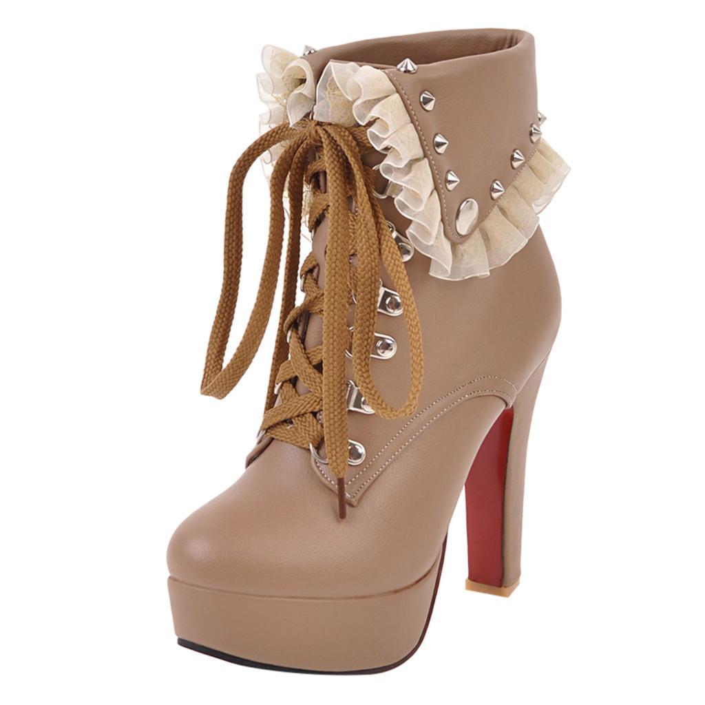 d7fb986a452 Compre Botines Para Mujer Plataforma Tacones Altos Mujer Con Cordones  Martin Botas Para Mujer Hebilla Corta Bota Casual Señoras Calzado A  75.97  Del Potatoo ...