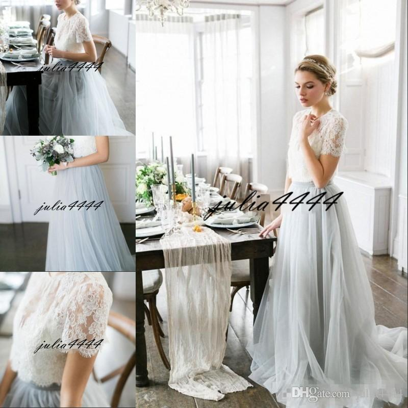 cfc94e400659 Acquista Abiti Da Damigella D onore Bohemian Stile Country Top Maniche  Corte In Pizzo Illusion Corpetto Gonna In Tulle Maid Of Honor Abiti Da  Festa A  92.47 ...