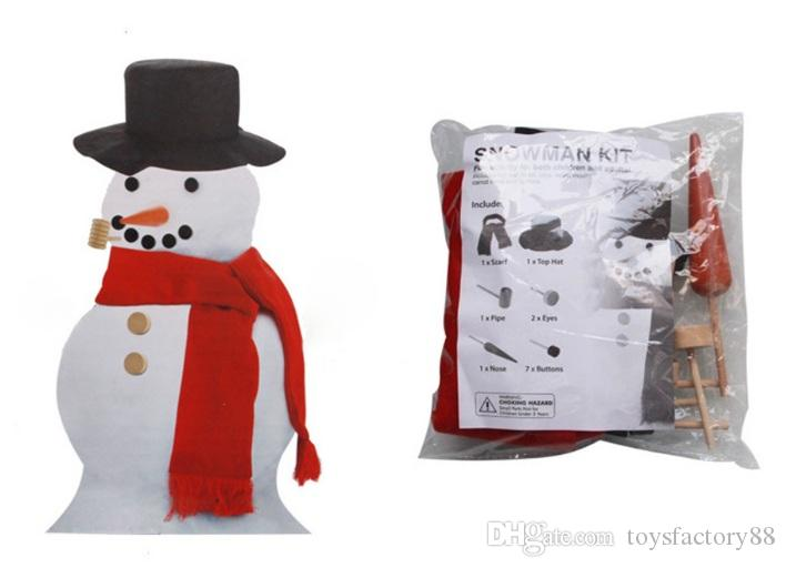 Wooden Simulation Dress Up Snowman Kit Christmas Decor Accessories Set Kit Snowman Eyes Nose Mouth Pipe Buttons Scarf Hat
