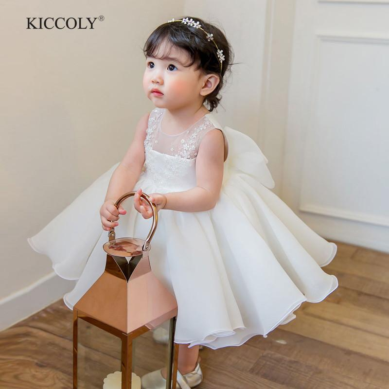Cute Flower Girls Wedding Dress White Tulle Baby Girl Christening Gown For Party 1 Year Baby Girl Birthday Dress Baptism Clothes J190426