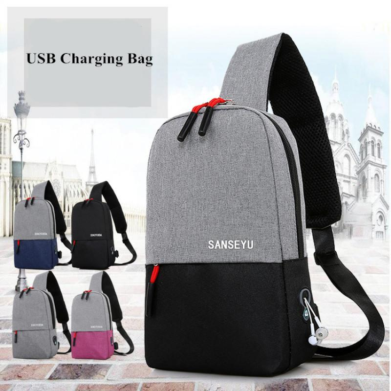 65632aad3c87 2018 Casual Waterproof Travel Chest Bag Men Single Shoulder Strap Cross  Body Bags USB Charging Headphone Plug Pack Rucksack Male Handbags Bags From  Finallan ...