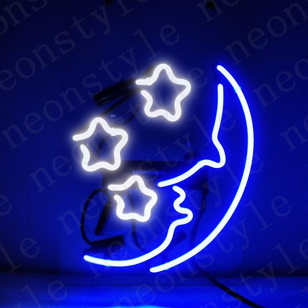 Moon And Star Gift Neon Signs Light Real Glass Tube Beer Bar Pub Shop Decorate Homeroom Girlsroom Party Decor Bulbs Sign 10inx10in